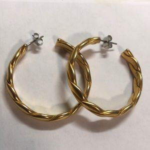 Gold braided hoops
